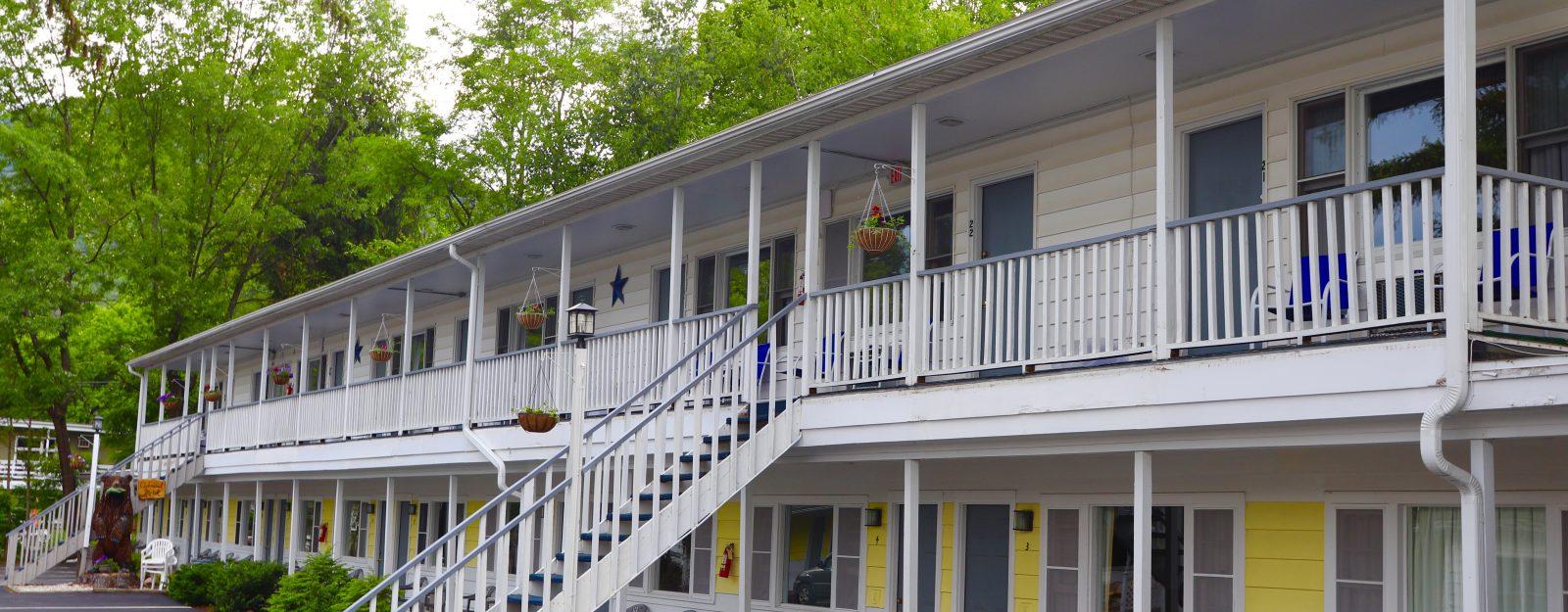 Motel room porches